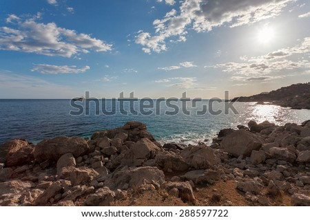 Rocky beach at day. Bay of Laspi. Ukraine. Russia - stock photo