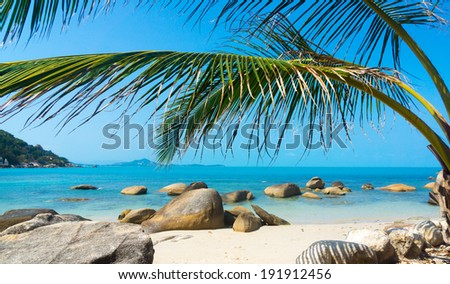 Rocky beach in Koh Samui, Thailand - stock photo