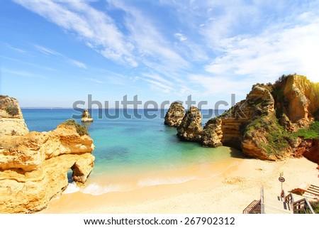 Rocky beach, Lagos, Portugal - stock photo