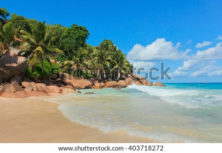 Rocky Beach Magnificent Seychelles  - stock photo