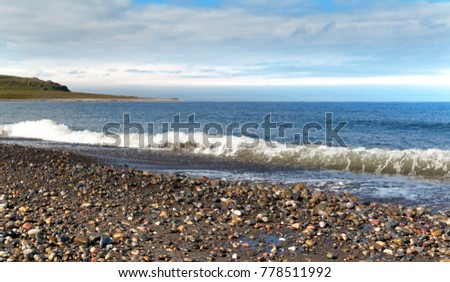rocky beach north of the Arctic Sea