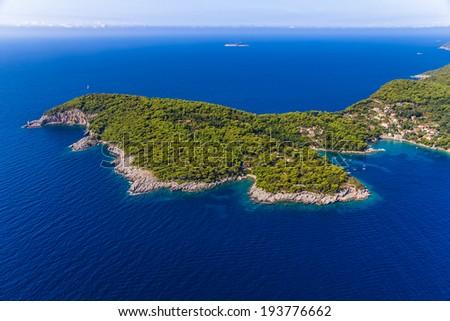 Rocky beach on Elaphites island Kolocep - Dubrovnik archipelago. - stock photo