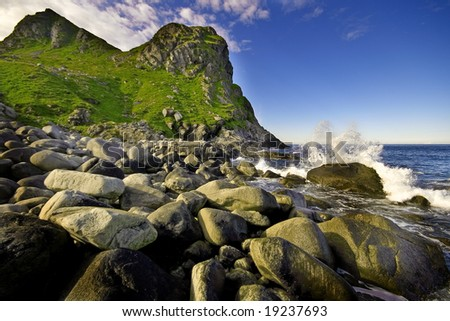 rocky beach on the lofoten - stock photo