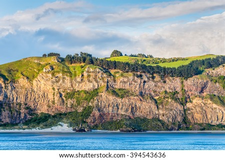 Rocky cliff face with bush and meadows on top at New Zealand coast near Dunedin at Otago Region Southern island - cloudy sky - stock photo