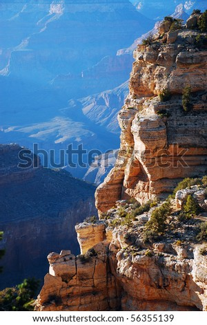 Rocky cliff in the Grand Canyon - stock photo