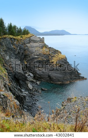 Rocky Cliffs on Kodiak Island, Alaska - stock photo