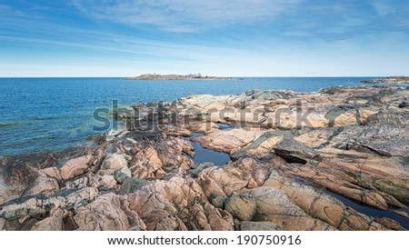 Rocky coast at sea archipelago in Sweden, Grisslehamn - stock photo