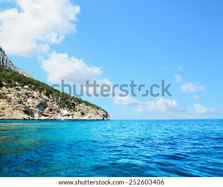 rocky coast in Orosei gulf, Sardinia - stock photo