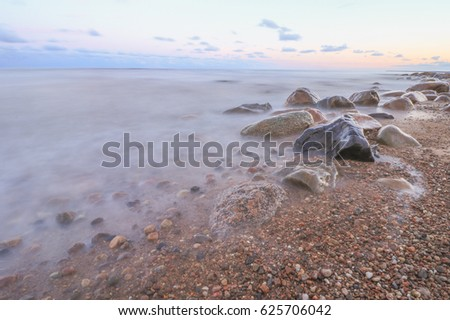 rocky coast in sunrise