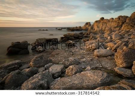 Rocky coast in the east of the Faroe island, Sweden - stock photo