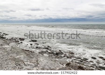 Rocky coast of a Nordic sea. Coastline of Gotland, Sweden. - stock photo