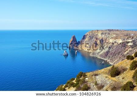 Rocky coast of Black sea near Sevastopol city - stock photo