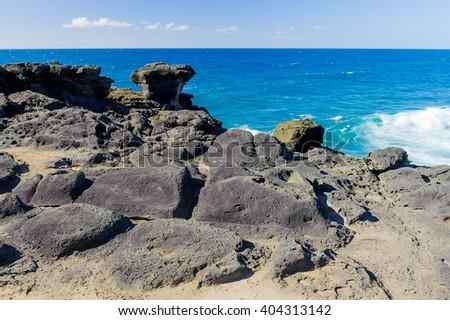 Rocky coast of Cape Kri-Kri. Southern coast of the island of Mauritius - stock photo