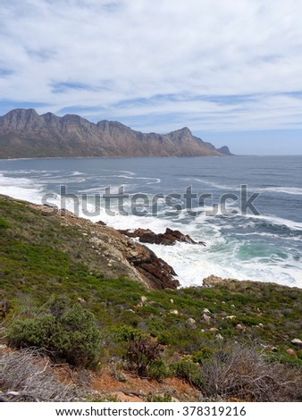 Rocky coast of Gordon's Bay, near Cape Town, South Africa