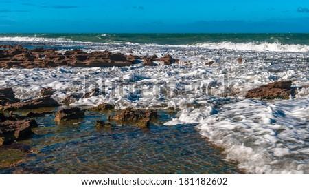 Rocky coast of Natal, Brazil - stock photo