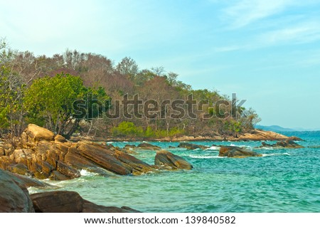 Rocky coast of Samet island - stock photo