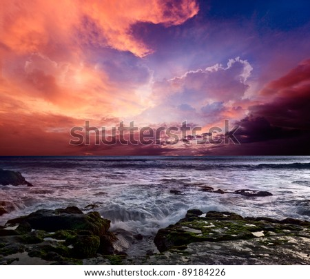 Rocky coast. Sunset