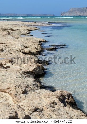 Rocky Coastline Details at Balos Lagoon, Crete, Greece