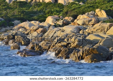 rocky coastline, Isola Maddalena, Archipelago di La Maddalena National Park, Sardinia, Italy, Europe - stock photo