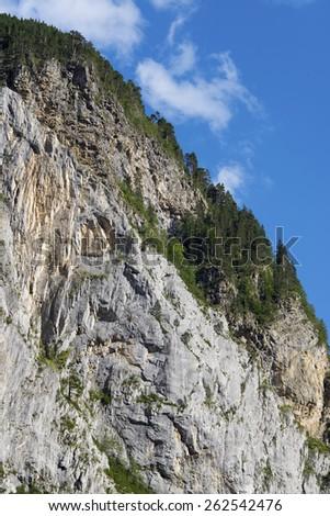 rocky escarpment in the Pyrenees, Bujaruelo Valley, Aragon, Huesca, Spain. - stock photo