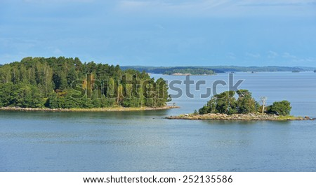 Rocky islands in Baltic Sea