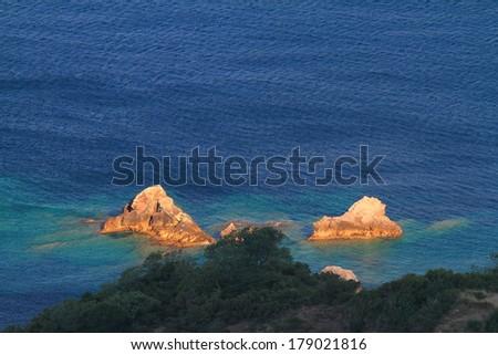 Rocky islands on the Adriatic sea shore - stock photo