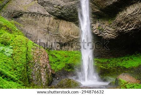 Rocky Lush Cascade at Columbia, Columbia Gorge - stock photo