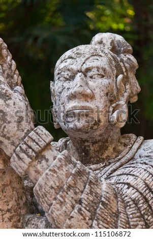 Rocky monument of native Mayan in Mexico - stock photo