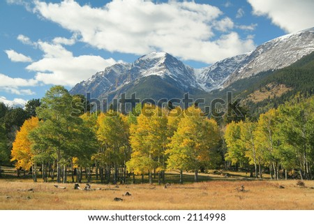 Rocky Mountain autumn landscape taken on the East Side of the Park (camera shooting towards the west) - stock photo