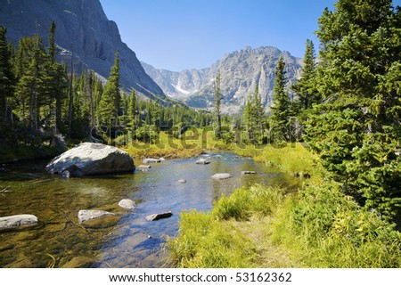 Rocky Mountain Landscape Near Dream Lake, Rocky Mountain National Park, Estes Park, Colorado, USA - stock photo