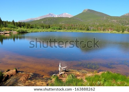 Rocky Mountain National Park in Colorado, USA. Lily Lake. - stock photo