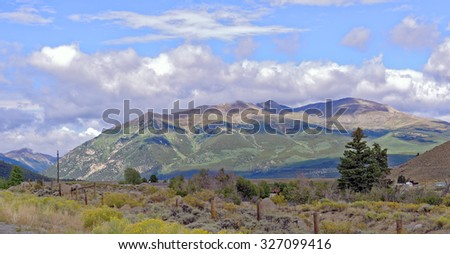 Rocky Mountains vista from Highway 82 near Twin Lakes, Colorado, U.S.A. - stock photo