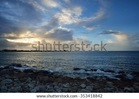 Rocky ocean coastline in Plouguerneau, Brittany, France - stock photo