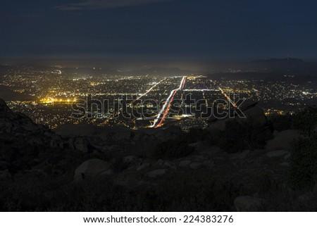 Rocky Peak Park night view of suburban Simi Valley near Los Angeles, California.  - stock photo