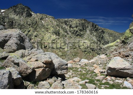 rocky peaks in Sierra de Gredos national park - stock photo