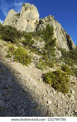 Rocky pinnacle in Puig Campana Mountains, Alicante, Valencia, Spain - stock photo