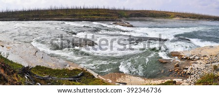 Rocky rapids on a Northern river. The threshold Oron on the river Fish, the Putorana plateau.