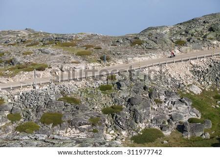 Rocky road in Portugal, national park Sierra De Estrella - stock photo