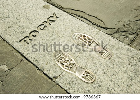 Rocky's footsteps at the Philadelphia Museum of Art - stock photo