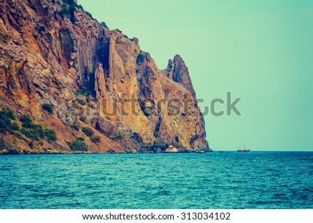 Rocky sea coast - stock photo