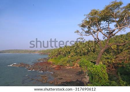 Rocky seashore in South Goa. India - stock photo