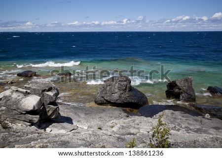 Rocky shore of Georgian Bay, Ontario on Flowerpot island - stock photo