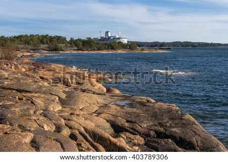Rocky shore of one of the islands of the archipelago in the Baltic Sea. the Aland Islands - stock photo