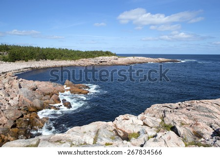 Rocky shoreline of Cape Breton, Nova Scotia, Canada - stock photo