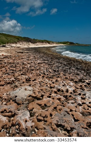 Rocky shores of Girt Bay, Eleuthera, Bahamas. - stock photo
