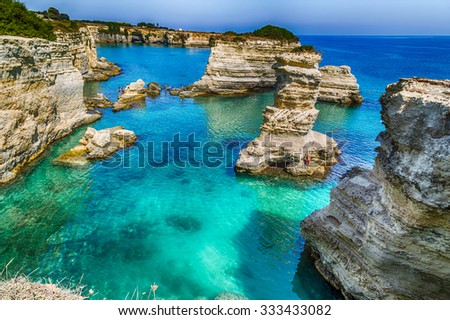 Rocky stacks of Santo Andrea on the coast of Salento in Puglia in Italy