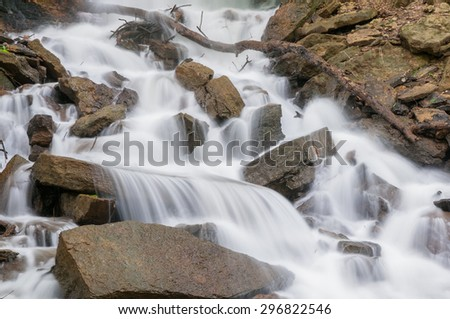 Rocky waterfall in a natural area of Missouri. - stock photo