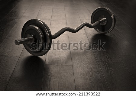 Rod on the wooden floor - stock photo