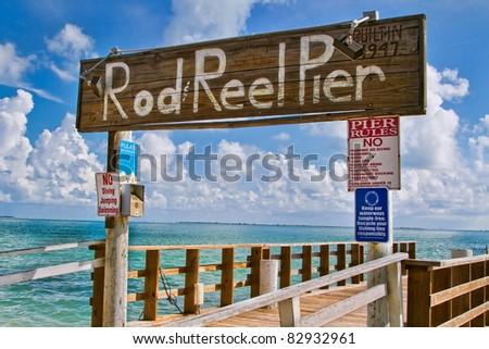 Rod Reel Pier Anna Maria Island Florida - stock photo