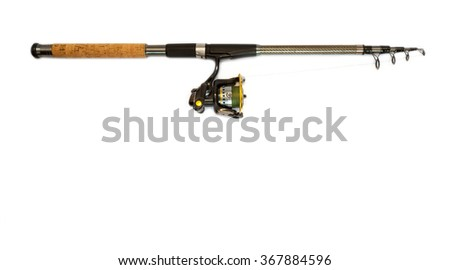 rod spinning on the white backgrounds - stock photo